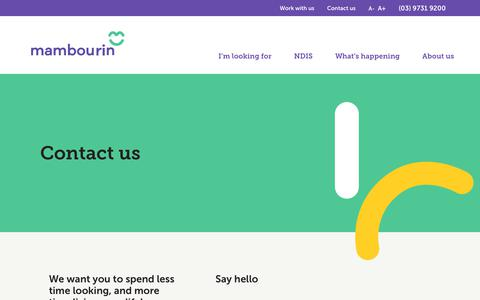 Screenshot of Contact Page mambourin.org - Contact us - captured Oct. 2, 2018