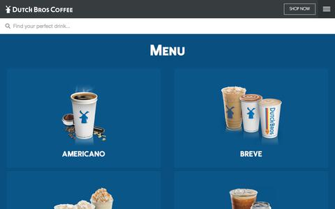 Screenshot of Menu Page dutchbros.com - Dutch Bros | Menu - captured Oct. 9, 2019