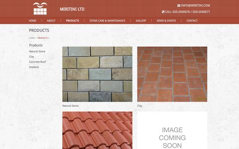 Screenshot of Products Page miritini.com - Products                                  Miritini Ltd   Welcome to the Stone Age! - captured Oct. 26, 2014