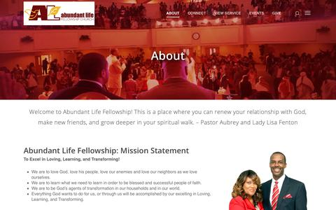 Screenshot of About Page abundantlife.org - About – Abundant Life Fellowship Church - captured Oct. 2, 2018