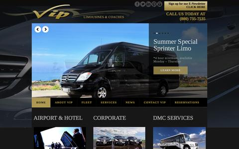 Screenshot of Home Page viplimos.us - VIP Limousines & Coaches | 35th Largest Transportation Company in the US - captured Oct. 9, 2014