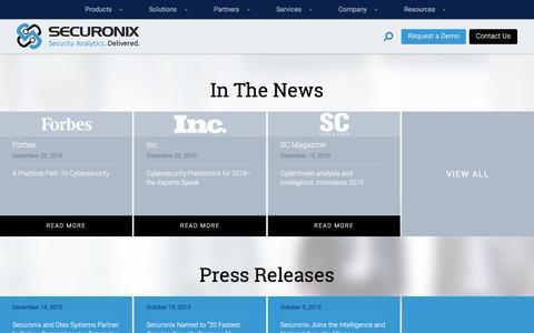 Screenshot of Press Page securonix.com - Press - Securonix - captured Jan. 19, 2016