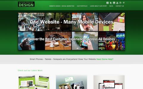 Screenshot of Home Page beyondparalleldesign.com - Beyond Parallel Design - Website Design + Social & Local Marketing + Search Optimization for Mobile - captured Dec. 28, 2015