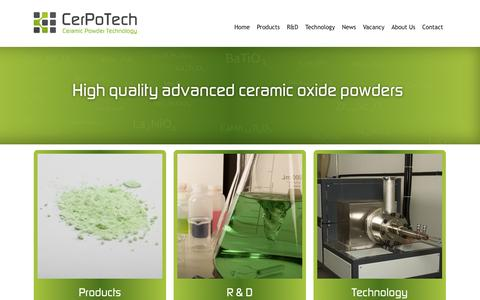 Screenshot of Home Page cerpotech.com - Home | Cerpotech - captured Oct. 2, 2014