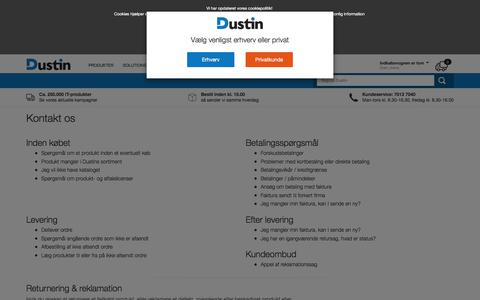 Screenshot of Contact Page dustin.dk - Kontakt os   | Dustin.dk - captured Sept. 23, 2018