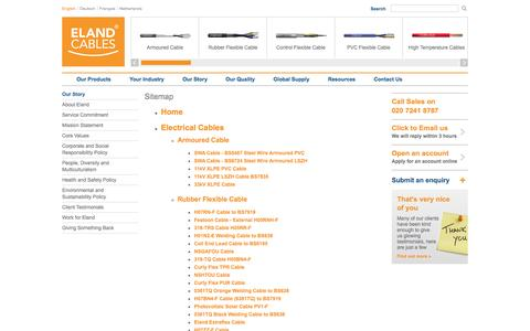 Screenshot of Site Map Page elandcables.com - UK Cables, Electrical Cable, Armoured Cable, Tri-rated, Power Cable, Railway Cable - captured Sept. 23, 2014