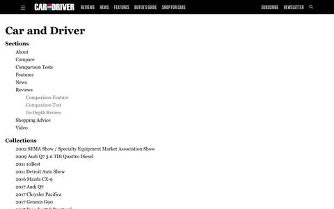 Screenshot of Site Map Page caranddriver.com - Sitemap | Caranddriver - captured March 11, 2019
