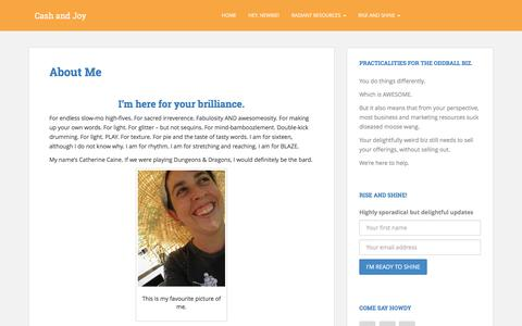 Screenshot of About Page cashandjoy.com - About Me - captured July 11, 2016