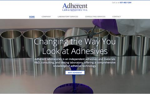 Screenshot of Home Page Menu Page adherentlabs.com - Development, Consulting and Testing Laboratory for Adhesives | Adherent Labs - captured Oct. 3, 2018