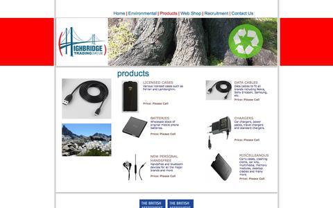 Screenshot of Products Page hbtltd.co.uk - Highbridge Trading UK Ltd. - captured Aug. 13, 2017