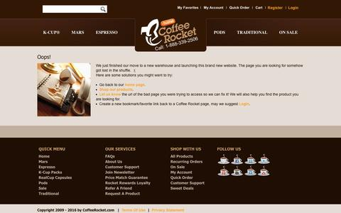 Screenshot of Menu Page coffeerocket.com - CoffeeRocket.com > About Us > Oops 404 Error - captured Nov. 8, 2016