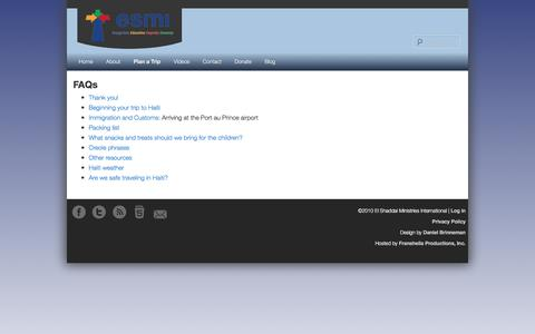Screenshot of FAQ Page esmihome.org - FAQs - captured Nov. 3, 2016