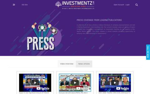 Screenshot of Press Page investmentz.com - Press Release - captured Oct. 4, 2018