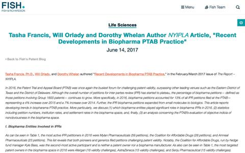 "Screenshot of fr.com - Tasha Francis, Will Orlady and Dorothy Whelan Author NYIPLA Article, ""Recent Developments in Biopharma PTAB Practice"" 