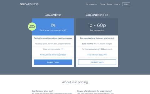 Screenshot of Pricing Page gocardless.com - Pricing - GoCardless - captured Nov. 12, 2015