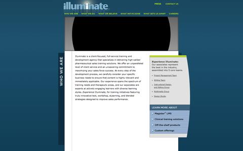 Screenshot of Home Page illuminate.net - Illuminate: A Full Service Training and Development Agency | Who We Are - captured Sept. 30, 2014