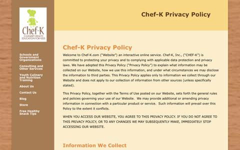 Screenshot of Privacy Page chef-k.com - Privacy Policy - Chef-K - captured Sept. 27, 2018