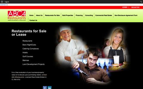 Screenshot of Home Page abc4restaurants.com - ABC4Restaurants- leading business brokerage company servicing restaurants, motels and real estate acquisitions. We serve the Connecticut and New Jersey areas. - captured Sept. 30, 2014