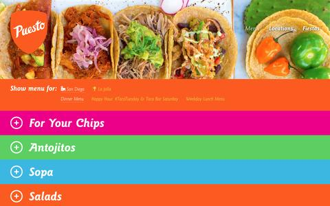 Screenshot of Menu Page eatpuesto.com - Menu  |  Puesto - captured March 8, 2016