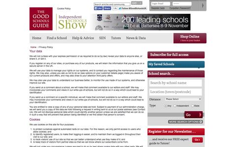 Screenshot of Privacy Page goodschoolsguide.co.uk - Privacy Policy | The Good Schools Guide - captured Nov. 4, 2014