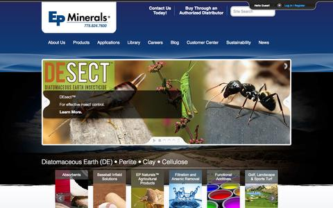 Screenshot of Home Page epminerals.com - Industrial Minerals: Diatomaceous Earth (DE), Clay, Perlite and Cellulose | EP Minerals - captured June 17, 2015
