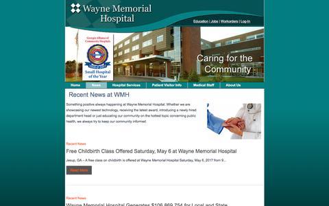 Screenshot of Press Page wmhweb.com - Recent News at WMH – Wayne Memorial Hospital - captured April 28, 2017