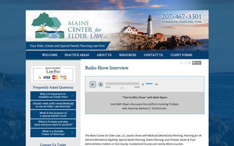 Screenshot of Press Page mainecenterforelderlaw.com - Radio Show Interview Kennebunk York  ME Lawyer Attorney Law Firm - captured Nov. 18, 2016