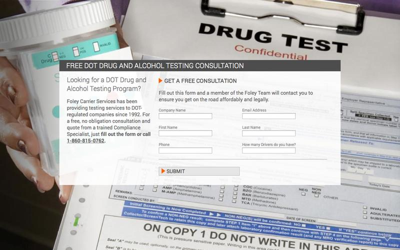 PPC Landing: Free DOT Drug and Alcohol Testing Consultation | Foley Carrier Services