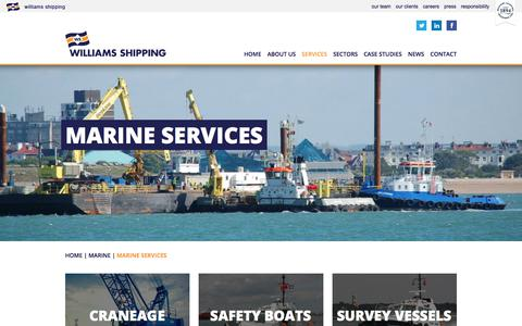 Screenshot of Services Page williams-shipping.co.uk - Marine Services | Williams Shipping - captured Nov. 6, 2017