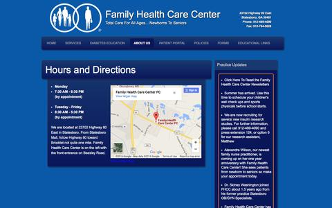 Screenshot of Maps & Directions Page familyhealthcarecenter.com - � Hours and Directions Family Health Care Center - captured Jan. 8, 2016