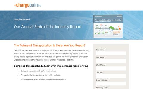 Screenshot of Landing Page chargepoint.com - ChargePoint Charging Forward Report - captured Sept. 19, 2018