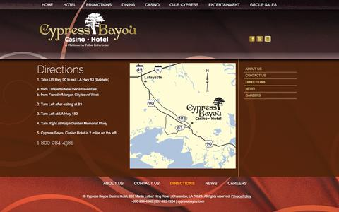 Screenshot of Maps & Directions Page cypressbayou.com - Directions to Cypress Bayou Casino - captured Feb. 2, 2016