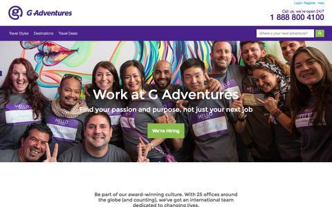 Screenshot of Jobs Page gadventures.com - Careers at G Adventures - G Adventures - captured Sept. 20, 2017