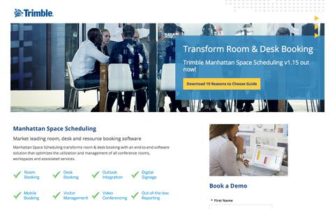 Screenshot of Landing Page trimble.com - Manhattan Space Scheduling v1.15 - Transforming Room & Desk Booking - captured March 3, 2018