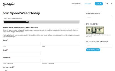 Screenshot of Signup Page speedweed.com - Join – SpeedWeed - captured Aug. 23, 2019