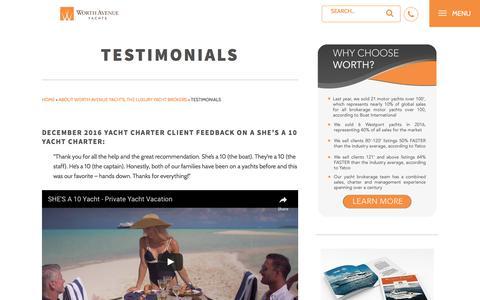 Screenshot of Testimonials Page worthavenueyachts.com - Testimonials | Worth Avenue Yachts - captured June 19, 2017