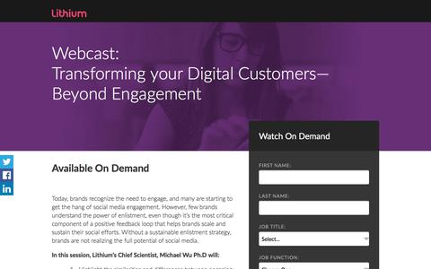 Screenshot of Landing Page lithium.com - Transforming your Digital Customers—Beyond Engagement - captured Sept. 7, 2017