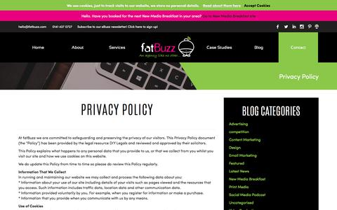 Screenshot of Privacy Page fatbuzz.com - Privacy Policy - fatBuzz - captured July 17, 2018