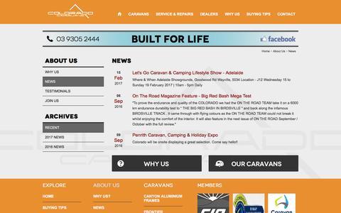 Screenshot of Press Page coloradocaravans.com.au - Caravan News - Colorado Caravans - captured May 19, 2017