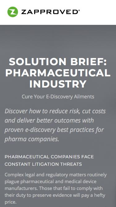 Screenshot of Landing Page  zapproved.com - Zapproved   Solution Brief: Pharmaceutical Industry