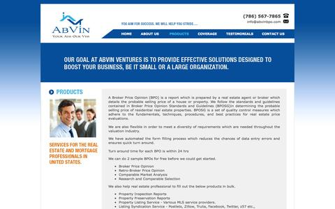 Screenshot of Products Page abvinbpo.com - AbVin a Broker Price Opinion and Real Estate Data Entry service Provider - captured Oct. 4, 2014