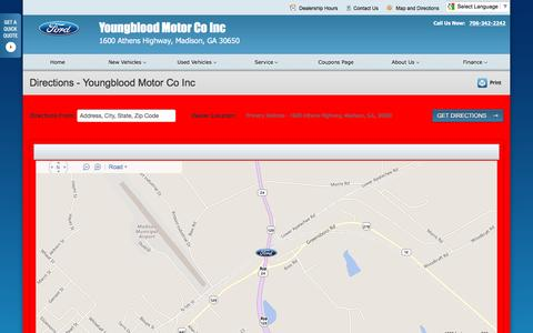 Screenshot of Maps & Directions Page youngbloodmotor.com - Directions at Youngblood Motor Co Inc - Your Madison, Georgia Ford dealer - captured June 24, 2016