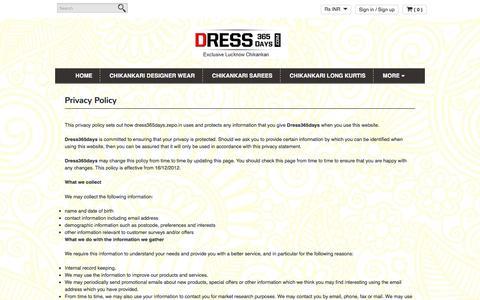 Screenshot of Privacy Page dress365days.com - Privacy Policy | www.dress365days.com - captured Aug. 2, 2016