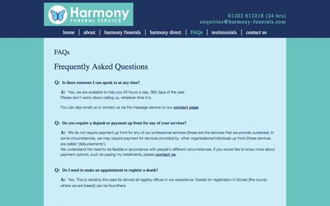 Screenshot of FAQ Page harmony-funerals.com - FAQs | Funeral Director in Bournemouth - captured Oct. 27, 2016