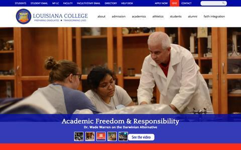 Screenshot of Home Page lacollege.edu - Louisiana College - captured Nov. 12, 2016