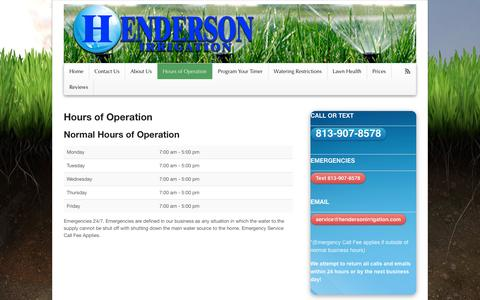 Screenshot of Hours Page hendersonirrigation.com - Hours of Operation - Henderson Irrigation - captured Oct. 2, 2014