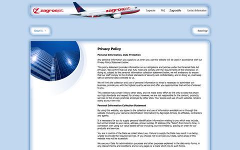 Screenshot of Privacy Page zagrosjet.com - Welcome to Zagrosjet - captured Nov. 2, 2014