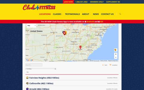 Screenshot of Locations Page clubfitness.us - Locations - Club Fitness - St Louis Gym and Fitness Center - captured Nov. 17, 2016