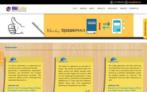 Screenshot of Testimonials Page itcube.net - Testimonials - SharePoint Development | Mobility Services | Custom Software Development Company India - captured Oct. 14, 2017