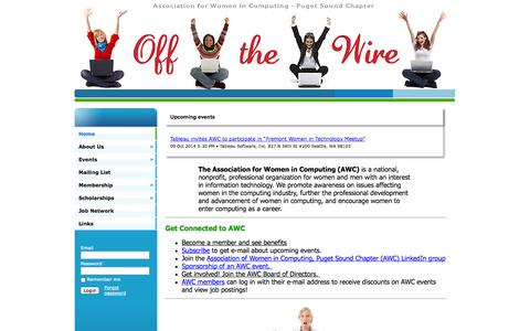 Screenshot of Home Page awcps.org - Association for Women in Computing - Puget Sound - Home - captured Oct. 4, 2014